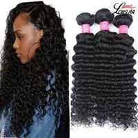 Großhandel 9A Brasilianische jungfräuliche Haare Tiefwelle Unverarbeitete brasilianische tiefe lockige Welle menschliche Haarverlängerungen Tiefwellenhaar 3 Bündel
