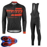 스프링 / 오토 룸 스콧 팀 망 사이클링 저지 세트 긴 소매 셔츠 턱받이 바지 정장 MTB 자전거 복장 경주 자전거 유니폼 야외 스포츠 착용 Ropa Ciclismo S21042029