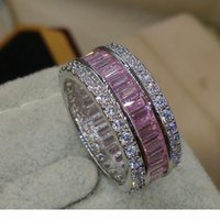 Victoria Wieck مجوهرات فاخرة كامل الأميرة قطع الوردي الياقوت 925 فضة مقلد الماس الأحجار الكريمة الزفاف الفرقة عصابة حجم 5-11