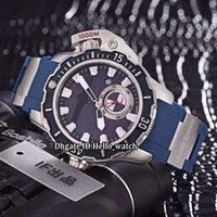 46mm 큰 크기 날짜 Maxi Marine 다이버 3203-500Le-3 / 93 망치 다이얼 자동 망 시계 강철 케이스 블루 고무 스트랩 스포츠 손목 시계