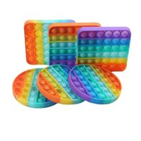 Den nya Rainbow Mouse Avant-Garde Christmas Series Round Square Desktop Decompression Puzzle Silicone Toy Party Favors