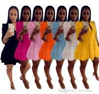 Дизайнеры Сексуальные Повседневные платья с длинными рукавами Женщины Мода Сплошной Цвет Глубокая V-Шката Свободная Рубашка Платье Плюс Размер