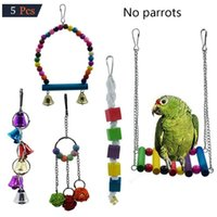 5pcs set Creative Combination Parrot Toy Bird Pet Supplies Bite Fun Cage Accessories Small Animal