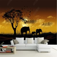 Wallpapers Beautiful Wallpaper For Living Room African Grassland Sunset Elephant TV Background Wall Paper Home Decor Mural Papel De Parede
