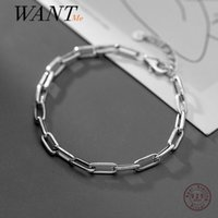 WANTME Genuine 925 Sterling Silver Punk Cuban Link Chain Hip Hop Bracelet&Bangle for Women Men Party Rock Jewelry Accessories 210507