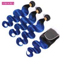 인간의 머리카락 벌크 ombre 번들 폐쇄 어두운 뿌리 T1B / 푸른 두 톤 브라질 바디 웨이브 3 팩 비 레미