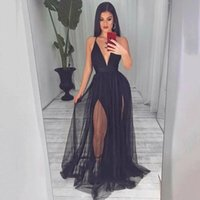 Black Tulle Evening Dresses A Line V Neck Long Robe De Soiree Formal Prom Party Gowns