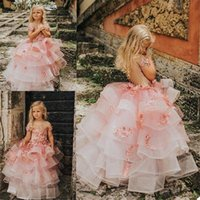 Girl's Dresses 3D Floral Flower Girls Lovely Tiered Sweep Length Custom Made Pageant Dress Kids Birthday Gowns