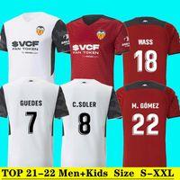 Valencia Hommes Kids # 7 Gardedes Home Jerseys de football blanc 21 22 # 5 g.Paulista # 2 Thierry R.Men adulte Chemise rouge 2021/2022 # 18 était uniforme de football