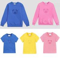 Çocuklar Hoodie Kazak T-Shirt Tees Üst Mektup Ayı Sevimli Rahat Tee Boy Bebek Teen Giysileri Sonbahar Uzun Kollu Kız Multicolor Çocuk Giyim Kısa Kollu Tops