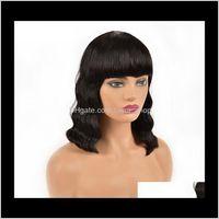 منتجات Discless Drop التسليم 2021 موجة الجسم قصيرة بوب الباروكة عابث قطع متموجة البرازيلي ريمي غلويليس الشعر الباروكات الشعر البشري مع الانفجارات للنساء السود