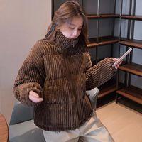 Women's Down & Parkas 2021 Winter Corduroy Short Jacket Women Korean Style Thick Zipper Cotton Woman Stand Collor Warm Outwear Coats Mujer