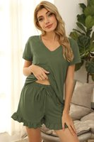 Women's Tracksuits Women Summer Sexy V-neck Short Sleeve Pullover T-shirt Casual Solid Ruffles Drawstring Shorts Suits