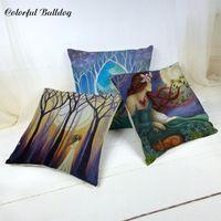 Cushion Decorative Pillow Abstract Figures Cushion Cover 45*45cm Forest Star Moon 1 Side Printing Car Bedroom Bean Bag Sofa Decoratio
