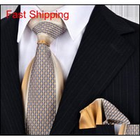 Çizgili Checked Noktalar Paisley Çiçek Renkli Erkek Kravatlar Kravat Setleri Cep Kare 100% Ipek Jakarlı Dokuma H Qylffe HOMES2007