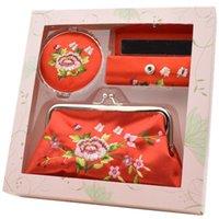 Ricamo Specchio Rossetto Box Box Zero Portafoglio Set Regalo speciale per gli stranieri per andare all'estero Stile cinese Business Party Favore