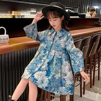Girl's Dresses Spring Autumn Teenage Oil Painting Style Princess Outerwear Baby Kids Casual Lapel Dress Girls Fashion Flower Printing
