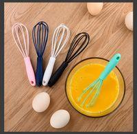 Edelstahl-Silikon-Griff-Ei-Schläger-Mini-Werkzeuge Getränk-Whisk-Mixer-Foamer Küchenregierer CPA3416