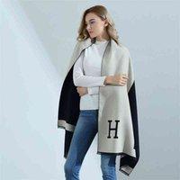 Autunno e inverno nuovo jacquard coreano doppio lato H Lettera Cashmere come sciarpa Scialle calda addensata da donna