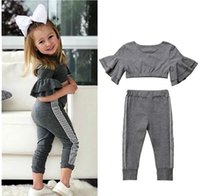 Toddler Kids Baby Girls Clothes Sets Tracksuits 2021 Summer Ruffles Short Sleeve Crop Tops +Sweatpants Outfits Girl Clothing