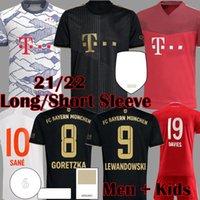 2021 Davies Bayern 축구 유니폼 Sane Lewandowski 긴 소매 Munchen Muller Gnabry 뮌헨 축구 셔츠 21 22 Mens Kids Kit HRFC