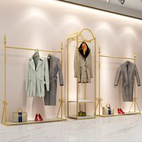 Clothing rack Commercial Furniture simple men's and women's store cloth display racks window gold iron floor clothes shelf can be customized