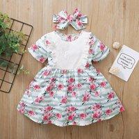 Girl's Dresses Toddler Baby Girls Short Sleeve Floral Stripe DressesHeadbands Outfits Cute Sweet Princess Dress Summer Clothing Vestir