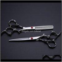 Professionelle 6 Zoll 440c Stahl Drache Hair Bag Set Schneidschere Friseur Dünnschere Kipper Friseurschere T8CXV FO3PX