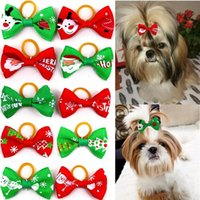 Dog Apparel 10PCS Christmas Hair Bowknot Rubber Bands Clips Accessories Grooming Bows Pet Supplies