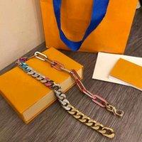 2021 Dernières Masters Conception de Luxe 316L Titanium Splicing Hommes Splicing Bracelets Chaîne Liens Liens Patchs Bracelet Coloré Collier Bijoux