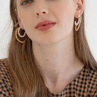Hoop & Huggie Pearl Double Layered Earrings For Women Gold Open C Trendy Minimalist Deisgner Jewelry Dainty Wholesale Items