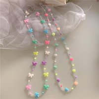 Chains Sweet Cute Transparent Acrylic Bead Colorful Butterfly Love Mask Chain Glasses For Women Girls Daily Jewelry Accessories