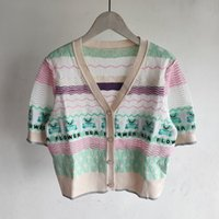 508 2021 Spring Summer Brand Same Style Sweater Short Sleeve V Neck Cardigan Kint Sweater Women Clothes xue