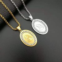 Men Women Virgin Mary Pendants Hip hop Jewelry Iced Out Bling Rhinestone Gold Color Madonna Pendant Necklace Chain