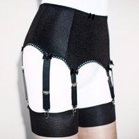 Cinturón de suspensión negro para mujer 6 correa, cinturón de liga más tamaño 5 tamaño sexy lencería lenceria mujer