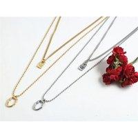Fashion Men Women Silver Color Gold Titanium Double Circle Ellipse Lock Key Black UNO de50 Bead Chain Pendants Neckalce Jewelry 210428