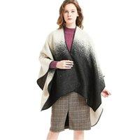 Шарфы Mingjiebihuo осень зимняя копия боковой черно-белый градиент цвет сплит шаль увеличить толще модных женщин девушек