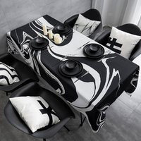 Tabela de toalha de mesa impermeável preto e branco Toalha de mesa retangular de mesa de mesa de mesa 733 R2