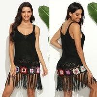 Angebot Europa und die Vereinigten Staaten Frauen Mischfarbe Handhaken Blume Nähte A200552 Quaste-Kondol Gewebtes Kleid Badebekleidung