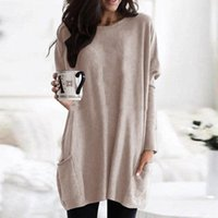 Women's T-Shirt Long Sleeve Women Knitted Sweater Pockets O-neck Loose Cotton Tops Fashion Casual Solid Color Pullovers Spring Autumn Clothe