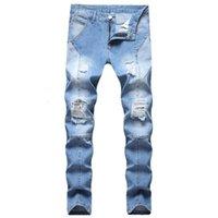 Herren Design Jeans Mode Täfelte Biker Jeans Skinny Beunruhigte Hellblaue Denim Hosen Dropshipping Großhandel Stock Jeans
