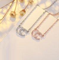 패션 브랜드 디자이너 더블 C 글자 목걸이 골드 톤 지르콘 목걸이 여성을위한 웨딩 파티 쥬얼리 선물