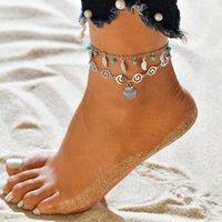 Mode Strand Fußkösche Schildkröte Starfish Baumeln Anklinse Doppelschicht Fußkettchen Armband Böhmische Fußkette Bein DFFF4666