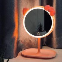 Compact Mirrors Cat Makeup Mirror With Led Standing Screen Vanity Adjustable Light For Office Cosmetics