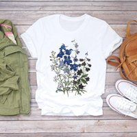 Women's T-Shirt Women Flower Short Sleeve Print Floral Female Ladies Womens Tee Clothing Summer Shirt T-shirts Top T Graphic