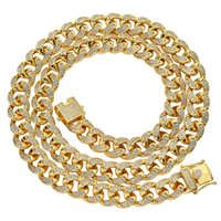 Mens Hip Hop Chain 12mm Prong Setting Micro AAA Zircon Iced Out Bling 18K Real Gold Plating Necklace Bracelets Fashion Jewelry For Gif