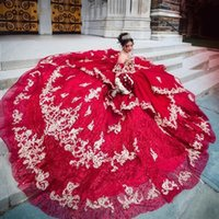 Luxurious Dark Red Sequins Ball Gown Quinceanera Dresses With Gold Lace Plus Size Sweep Train Formal Prom Party Gowns Sweet 16 Dress vestidos de 15 años