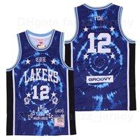 Uomini Moive BR Remix Schoolboy Q X 12 Groovy Basket Banker Jersey Edizione limitata Vintage Traspirante puro puro pullover Team Colore Blu Sport retrò Alta qualità