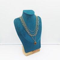 レイヤードチョーカーネックレスヒョウのチョーカーネックレスPendntチェーンネックレスの多層チェーン用女性女の子ゴールド