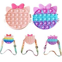 Silicone Push Bubble Kawaii Cat Bag Messenger Bag Fidget Toys Anime Anti-Stress Stress Relief Toy Children Gifts Push it